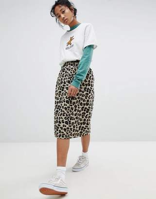 Stussy Pencil Skirt In All Over Leopard Print