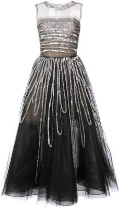 Oscar de la Renta sleeveless sequin embroidered gown