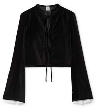 Rosie Assoulin Tri-tie Voile-trimmed Cotton-velvet Blouse - Black
