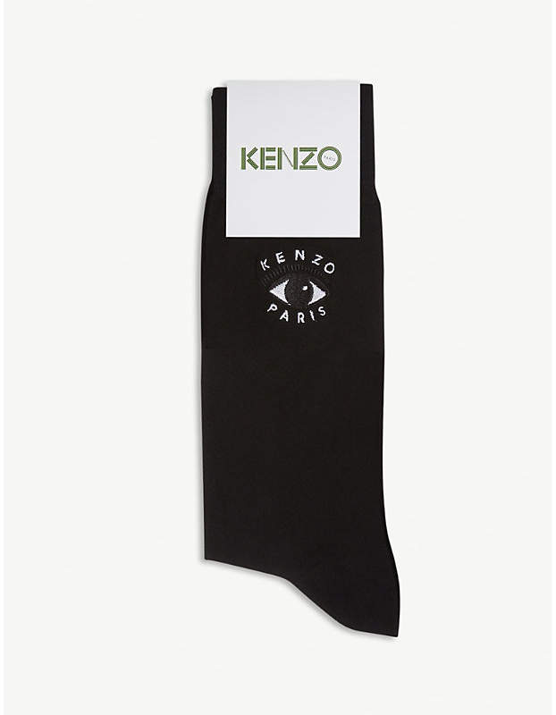 Evil eye-embroidered stretch-cotton socks