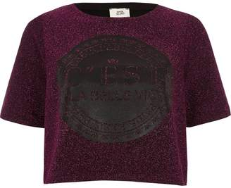 River Island Womens Pink glitter 'c'est la belle' cropped T-shirt