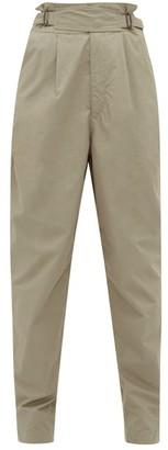 Isabel Marant Pierson Buckled Waist Cotton Trousers - Womens - Khaki