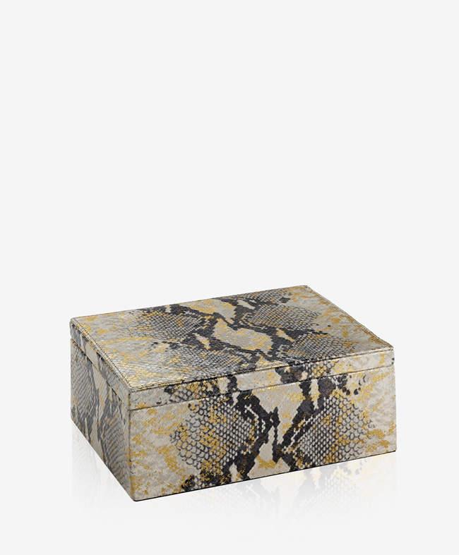 Large Box Gold Wash Embossed Python Leather