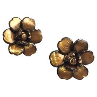 Chanel Vintage Camelia Brown Glass Earrings