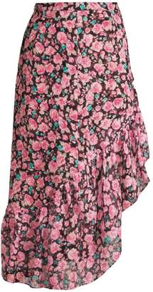 The Kooples Floral Ruffle Midi Skirt
