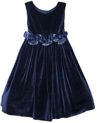 Isabel Garreton Sleeveless Velvet Holiday Dress w/ Rose Detailing, Size 2-3