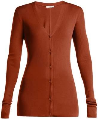 The Row Lana ribbed-knit silk cardigan