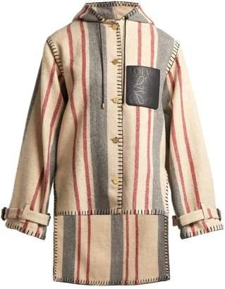 Loewe - Striped Blanket Hooded Wool Jacket - Womens - Red Stripe