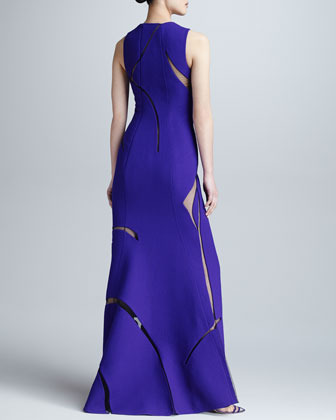 Ralph Rucci Sheer Inset Gown, Violet