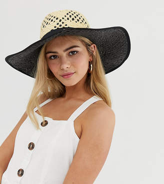Miss Selfridge sun hat with contrast underlay in nude