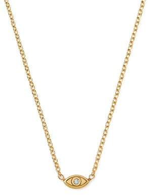 Chicco Zoë 14K Yellow Gold Itty Bitty Diamond Evil Eye Necklace, 16""