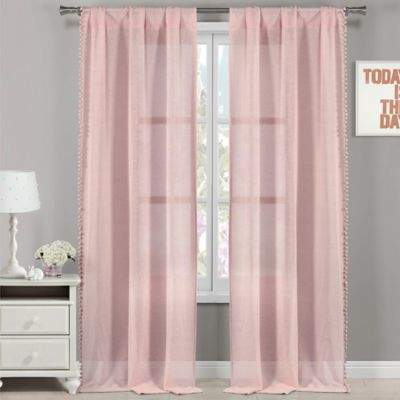 LaLa + Bash Addyson Pompom 84-Inch Pole Top Window Curtain Panel Pair in Pink