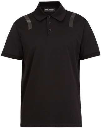 Neil Barrett Tape-print cotton-piqué polo shirt
