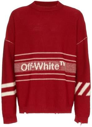 Off-White logo stripe intarsia wool jumper