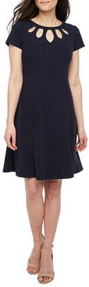 Byer California Short Sleeve Fit & Flare Dress-Petite