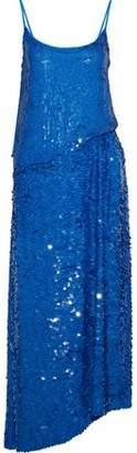 Emilio Pucci Asymmetric Sequined Silk Crepe De Chine Maxi Dress