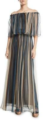 Brunello Cucinelli Off-The-Shoulder Striped Organza Gown