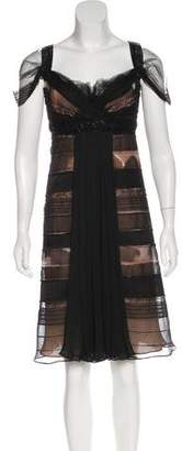 J. Mendel Embellished Sheer-Accented Dress
