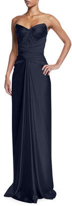 Zac Posen Strapless Knot-Front Bustier Dress