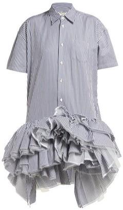 Junya Watanabe Striped Ruffled Tulle Tier Cotton Shirtdress - Womens - Blue Multi