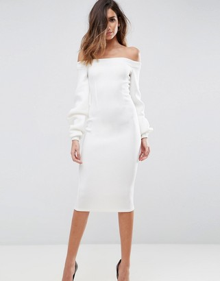 ASOS Premium Off Shoulder Midi Dress With Full Sleeve $72 thestylecure.com