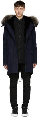 Yves Salomon Navy Fur-Lined Hooded Parka
