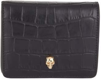 Alexander McQueen Croc-Embossed Leather Skull Wallet