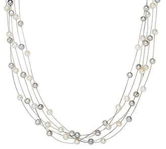 Valero Pearls Sterling Silver 925 rhodium-plated Ladies Necklace with Freshwater cultured pearls white grey 00400320