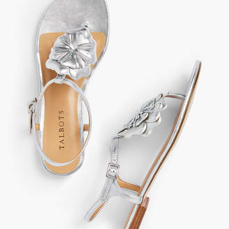 Talbots Keri Nappa Leather Flower Sandals - Metallic