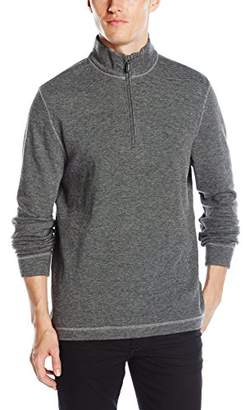 Bugatchi Men's Two Tone Shadow Stripe Long Sleeve 1/4 Zip Pullover