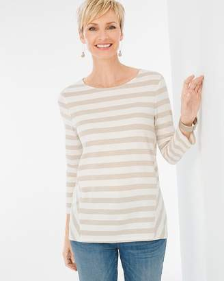 Chico's Shimmer Striped Tee