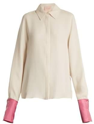 Roksanda Kanika Contrast Cuff Silk Georgette Blouse - Womens - Ivory Multi