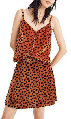 Madewell Velvet Leopard Dot Button Front Camisole