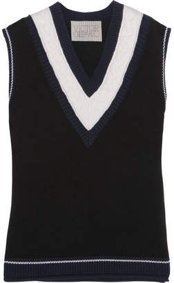 Victor Glemaud - Cable Knit-paneled Cotton And Cashmere-blend Vest - Navy