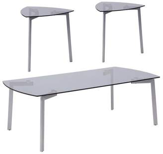 Brighton Collection Flash Furniture 3 Piece Coffee and Triangular End Table Set with Smoked Glass Tops and Silver Metal Legs
