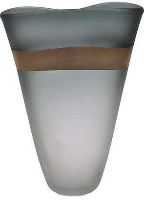 """Viz Glass 15"""" Gold-Banded Art Glass Vase - Gray"""