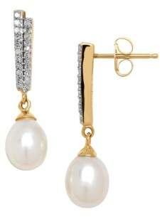 Lord & Taylor 6MM White Pearl, Diamond and 14K Yellow Gold Drop Earrings
