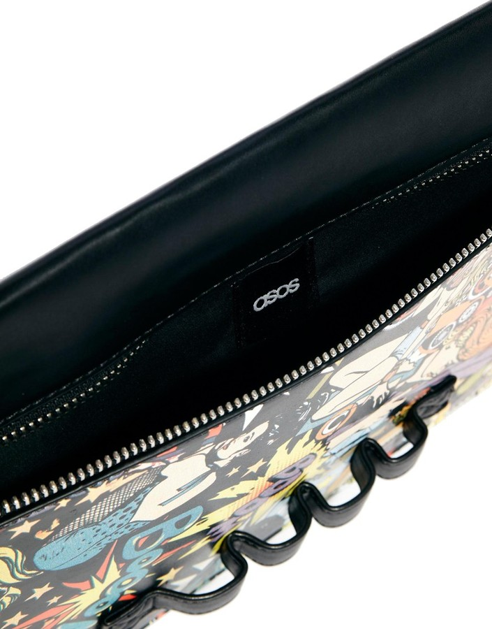 Asos Clutch Bag In Cartoon Print With Slot Through Handle