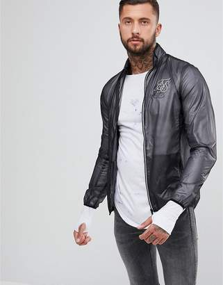 SikSilk Windbreaker Jacket In Dark Gray