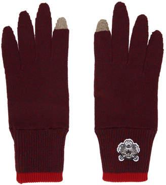Kenzo Burgundy Tiger Crest Gloves