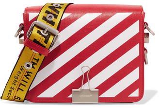 Off-White - Striped Textured-leather Shoulder Bag - one size $1,070 thestylecure.com