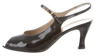 Salvatore Ferragamo Patent Leather Ankle Strap Pumps