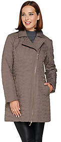 Moto Dennis Basso Quilted Style Coat with FauxLeather Trim