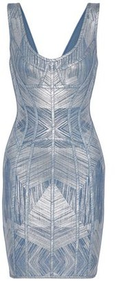 Herve Leger Nannette Metallic Printed Bandage Dress