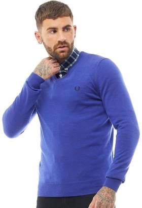 Fred Perry Mens Classic Tipped V-Neck Sweater Regal Marl
