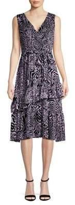 Gabby Skye Printed Ruffle A-Line Dress