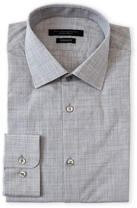 John Varvatos Silver Heather Check Regular Fit Dress Shirt