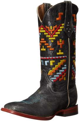 Ferrini Women's Ladies Aztec Cowgirl Teal Square Toe Western Boot 6.5 B US