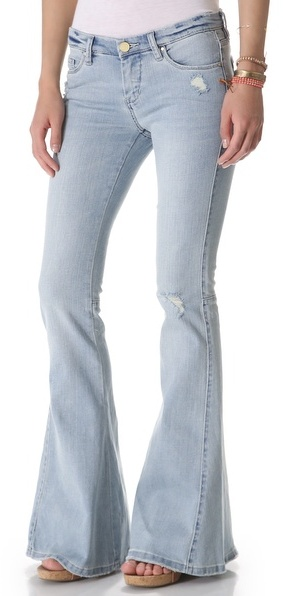 Blank Distressed Bell Bottom Jeans