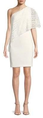 Lauren Ralph Lauren Cut-Out Overlay One-Shoulder Sheath Dress
